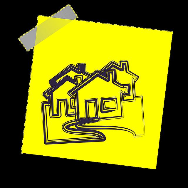 žlutý lístek s domky