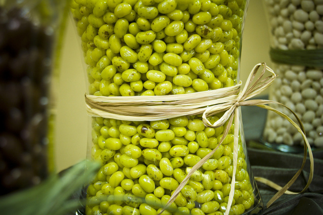 zelené fazole ve sklenici